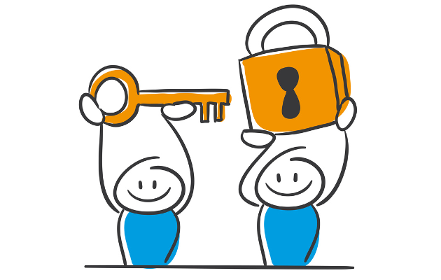 das Bild zeigt zwei Figuren mit einem Schlüssel und einem Schloss