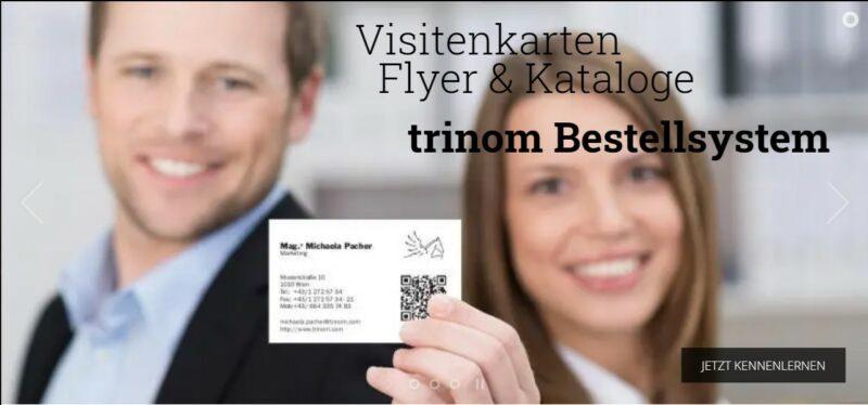 Symbolbild: TRINOM Web2Print für Visitenkarten, Flyer, Stempel, Schilder